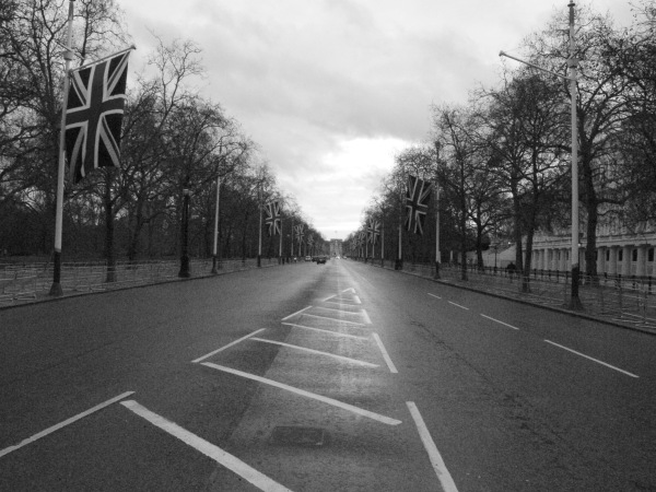 London, union Jack, winter, black and white